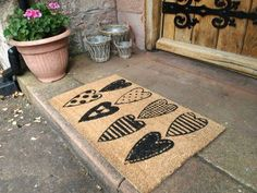 Tan Doormat with Black Heart Design by Parlane - Home Treats Thing 1, Black Heart, Doormat, Hearts, House Design, Heart Attack, Diy, Natural, Home Decor