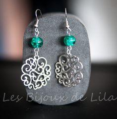 Boucles doreilles pendantes -Breloque arabesques -Perle jade