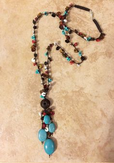 Turquoise Necklace Beaded Necklace Stone Necklace by FrancaandNen