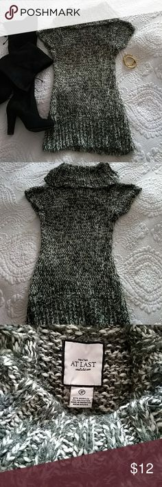 Gorgeous Cowell Neck Sweater Dress This sweater dress is beautiful! Crochet work is cream and olive green (color is best shown in the last photo). Sadly, no longer fits me. Has been worn and laundered. Says Large, but I'm a size 2 and wore it as a sweater dress with leggings. At Last Sweaters Cowl & Turtlenecks