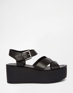 4bfb452df43 Image 2 of Pull Bear Block Wedges With Crossover Straps Strappy Sandals