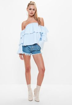 Missguided - White Striped Bardot Top