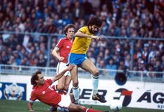 England 0 Brazil 1 in May 1981 at Wembley. Socrates is slide tackled by Ray Wilkins #Friendly