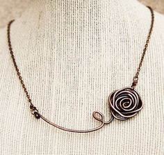 Wire rose necklace....