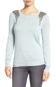 Free shipping and returns on Halogen® Embellished Shoulder Sweater (Regular & Petite) at Nordstrom.com. Like epaulets fit for a queen, intricate beading and sparkling crystals grace the shoulder of this lightweight sweater knit from a soft blend of cotton and modal.