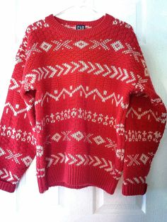 Vtg Gap red and white tribal aztec print wool sweater