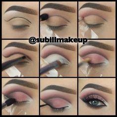 Gorgeous eye-makeup lesson. #naturaleyemakeup Cut Crease Eyeshadow, Cut Crease Makeup, Eyeshadow Makeup, Glitter Eyeshadow, Eyeshadow Palette, Eyeliner Pencil, Makeup Brushes, Bright Eyeshadow, Gel Eyeliner