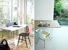 Nature inspired desk and desk accessories. Love the window! | Workspaces