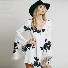 SheIn offers White Long Sleeve Leaves Print Dress & more to fit your fashionable needs. Bell Sleeve Dress, Bell Sleeves, Dress Sleeves, Sleeve Dresses, Boho Dress, Dress Up, Lace Dress, White Dress, Alternative Rock