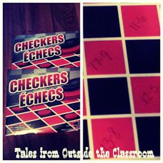 Using a regular dollar store checkers board to practice math facts