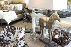 Horse lamp with square shade.  Robin's Nest Interiors - Louisville Interior Design & Home Accessories Boutique located in the heart of Middletown, KY.