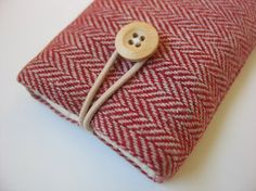 iPhone 5 case iPhone 5 cover (padded) ----- red-and-cream herringbone fabric