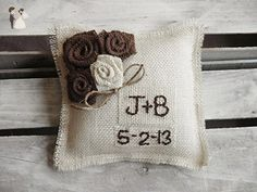 Off-White Burlap Ring Bearer Pillow with Jute Twine and Rosettes-Personalize with Initials & Wedding Date - Venue and reception decor (*Amazon Partner-Link)