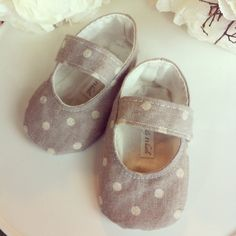 Linen Grey and Cream Polka Dot Baby Girl Shoes by TillyWhistle