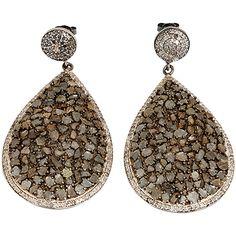 Amazing Boho Sliced Diamond And Silver Teardrop Earrings (68.255 RUB) ❤ liked on Polyvore featuring jewelry, earrings, multiple, diamond jewellery, diamond earrings, silver diamond earrings, silver earrings and teardrop earrings