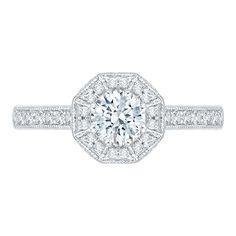 Octagon Halo with Metal Work Detail Diamond Promezza Engagement Ring with Round Center