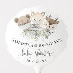 Woodland Forest Animal Baby Shower Balloon Woodland Forest, Woodland Baby, Baby Shower Ballons, Holiday Cards, Christmas Cards, Baby Shower Labels, Photo Balloons, Baby Shower Table Decorations, Custom Balloons