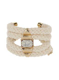 Cream cord and stone bracelet
