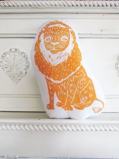 Plush Lion Pillow. Hand Woodblock Printed. Pick Any Color. Made to Order.
