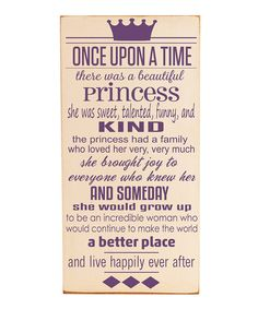 Cream & Purple 'Once Upon a Time' Wall Art $29.99 zulily