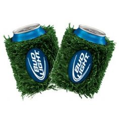 TAILGATE APPROVED! A set of two atificial grass, Bud Light beer koozies for bottles or cans. These beer can coolers are covered entirely with fake grass for that true football tailgate experience. A navy blue Bud Light logo made of rubber is attached to the center of the koozies.