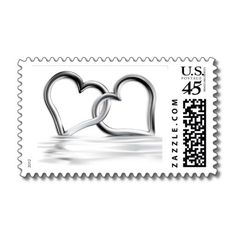Two hearts postage stamps, great for wedding invitations http://www.zazzle.com/entwined_silver_hearts_love_stamps_postage-172103092466031332?rf=238133515809110851