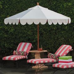 Seaside Scallop Peony Designer Umbrella | Frontgate