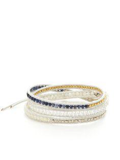 Chan Luu Multi Semi-Precious Stone Leather Wrap Bracelet