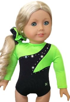 67% Off was $19.95, now is $6.50! NEW 2 Item Bundle - NEON GREEN GYMNASTICS DANCE LEOTARD SET - Fits American Girl 18 inch Doll - Doll Clothes Lot...