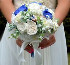 Wedding bouquet Vonne ivory/ blue and boutonniere by Marcellinewedding on Etsy