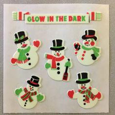Sandylion+Glow+in+the+Dark+SNOWMEN+snowman+Christmas+Stickers+Retro+Rare+Vintage+XHG25