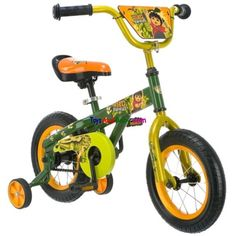 """Nickelodeon Boys 12 Inch Diego Bicycle Green and Orange R7208Nickelodeon Licensed 12"""" Diego BikeModel Number: R7208UPC Code: 038675208025Color: Green And OrangeKEY FEATURESOversized frame with pierced top tube and mono staysQuick release seat post for fast growing kidsHandlebar plate add visual appealCoaster brake for simple, secure stoppingHeavy duty training wheels for stabilityColor:… $79.87"""