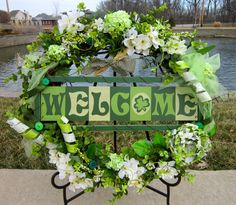 St. Patrick's Day Green, Irish, Handmade, Custom Grapevine, Welcome  Wreath