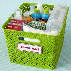 Organized kits to corral basics: first aid, art supplies, pets, etc.