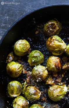 Brussels sprouts, oven-roasted with garlic, olive oil, lemon juice, salt, pepper, and Parmesan cheese. ~ SimplyRecipes.com
