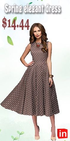 7414fc8cb9ce Women s Daily Swing Dress - Polka Dot Brown Green Red XXL XXXL XXXXL Moda  Primaverile