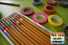 Pink and Green Mama: Back To School Supply Makeover: Washi Tape Wrapped Pencils
