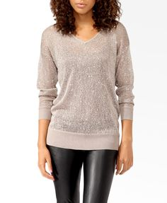 Sequined Open Knit Sweater | FOREVER21 - $27.80