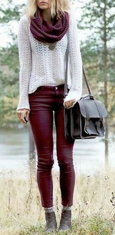 I've been wanting to get myself maroon pants for a while now!!!!  Maroon skinny pants, scarf and white sleeve sweater shirt