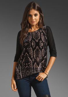 REBECCA TAYLOR Snake Burnout Slouchy Top in Black/Blush at Revolve Clothing - Free Shipping!