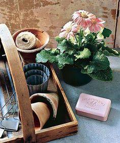 Bar of soap and potted plant До начала работы с землей поцарапать мыло, чтобы оно забилось под ногти. Мыло не даст грязи проникнуть под ногти и позволит легко отмыть подногтевое пространство.