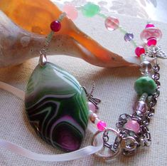 Pink green mauve dragon vein agate sun catchers by LizPOriginals