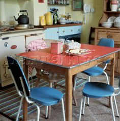 kitchen table and chairs 1960s red formica kitchen table and blue chairs with patterned - Formica Kitchen Table