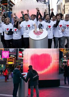 NYC art installation for Valentine's Day: A single person can activate the beating heart, but joining hands with others will make the heart beat even faster.