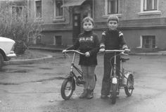 Back In The Ussr, Vintage Children, Black And White Photography, Bicycle, Motorcycle, Vehicles, Kids, Guys, Black White Photography