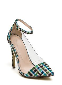 Clearly Houndstooth Pointy Heels GREENMULTI