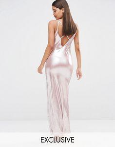 NaaNaa   NaaNaa Cami Maxi Dress With Thigh Split In Rose Gold Liquid Metallic