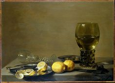 Pieter Claesz | Still Life with Lemons, Venetian Goblet, and Roemer, 1629  oil on panel, 44.5 x 61 cm (17 1/2 x 24 in.)  Private collection, on loan to The Metropolitan Museum of Art, New York