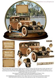 Good old Days Vintage Car on Craftsuprint designed by Di Simpson - This is a great topper shaped/and a little bit wobbly card design for vintage car lovers. Very easy to make up. all instructions are on the sheet. Lots of 3D elements to bring to life. - Now available for download!