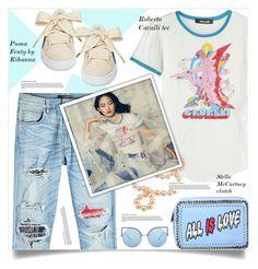 """Puma Fenty Sneakers by Rihanna"" by anne-irene ❤ liked on Polyvore featuring STELLA McCARTNEY, AMIRI, Roberto Cavalli and Matthew Williamson"
